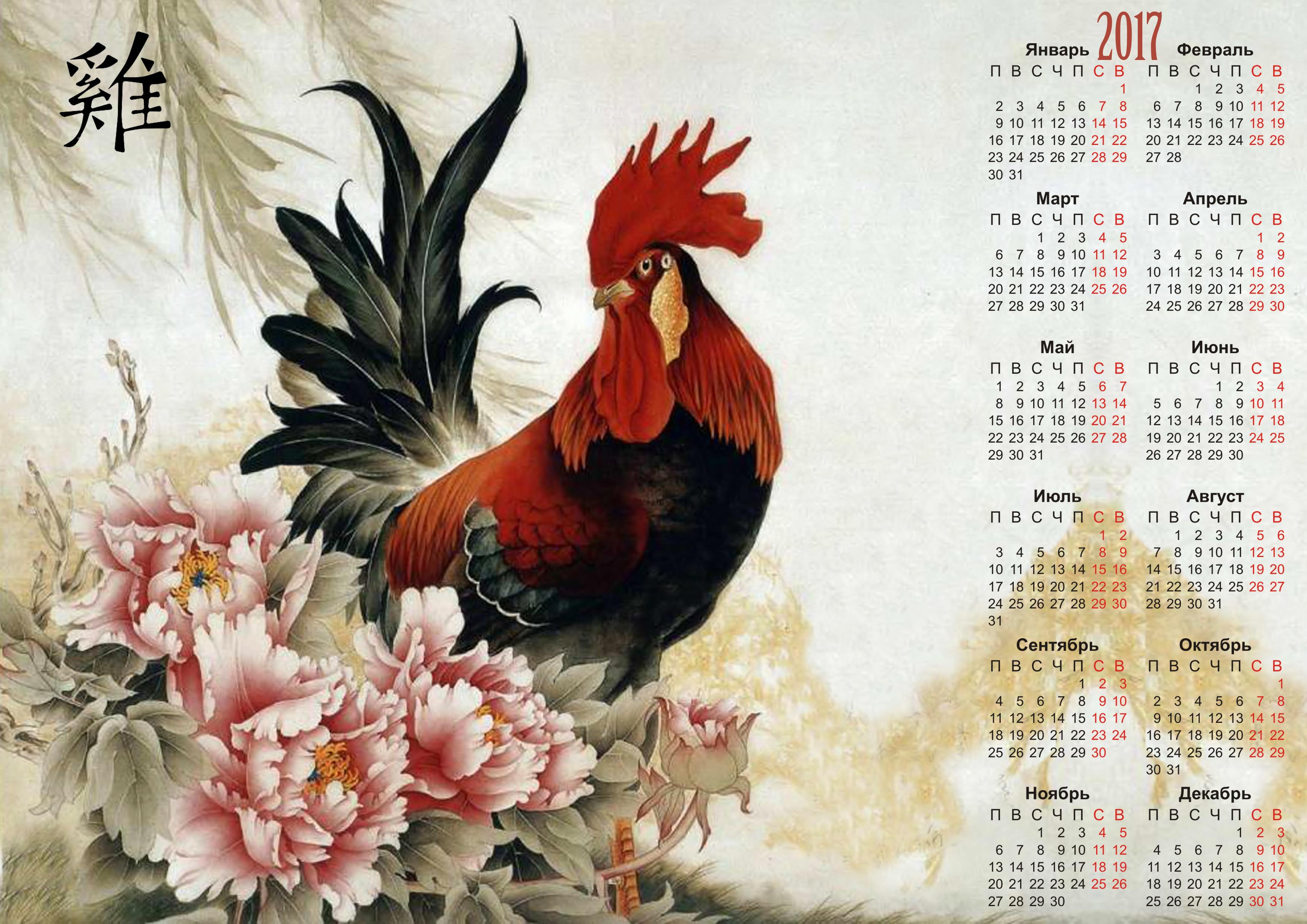 обои Календарь на 2017 год, Год Красного Огненного Петуха, Календарь на 2017 год Год Красного Огненного Петуха, Календарь настенный на 2017 год Огненный петух картинки фото