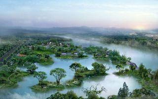 Фото бесплатно дороги, деревья, дома