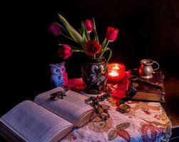 Бесплатные фото свеча,ваза,цветы,тюльпаны,фрукты,книга,сова
