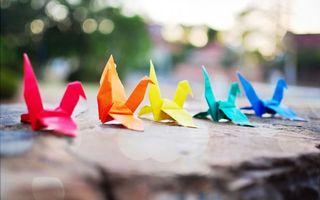 Фото бесплатно оригами, бумага, разноцветная