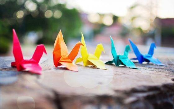 Заставки оригами, бумага, разноцветная