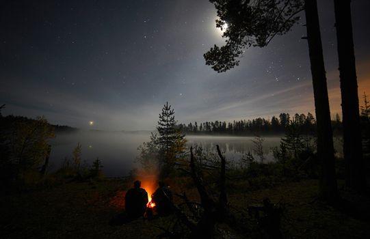 Фото бесплатно Ночь, звёзды, костёр