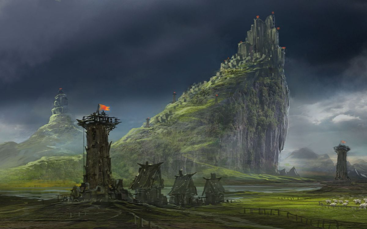 Фото бесплатно арт, вышка, избы, гора, царство, крепость, разное