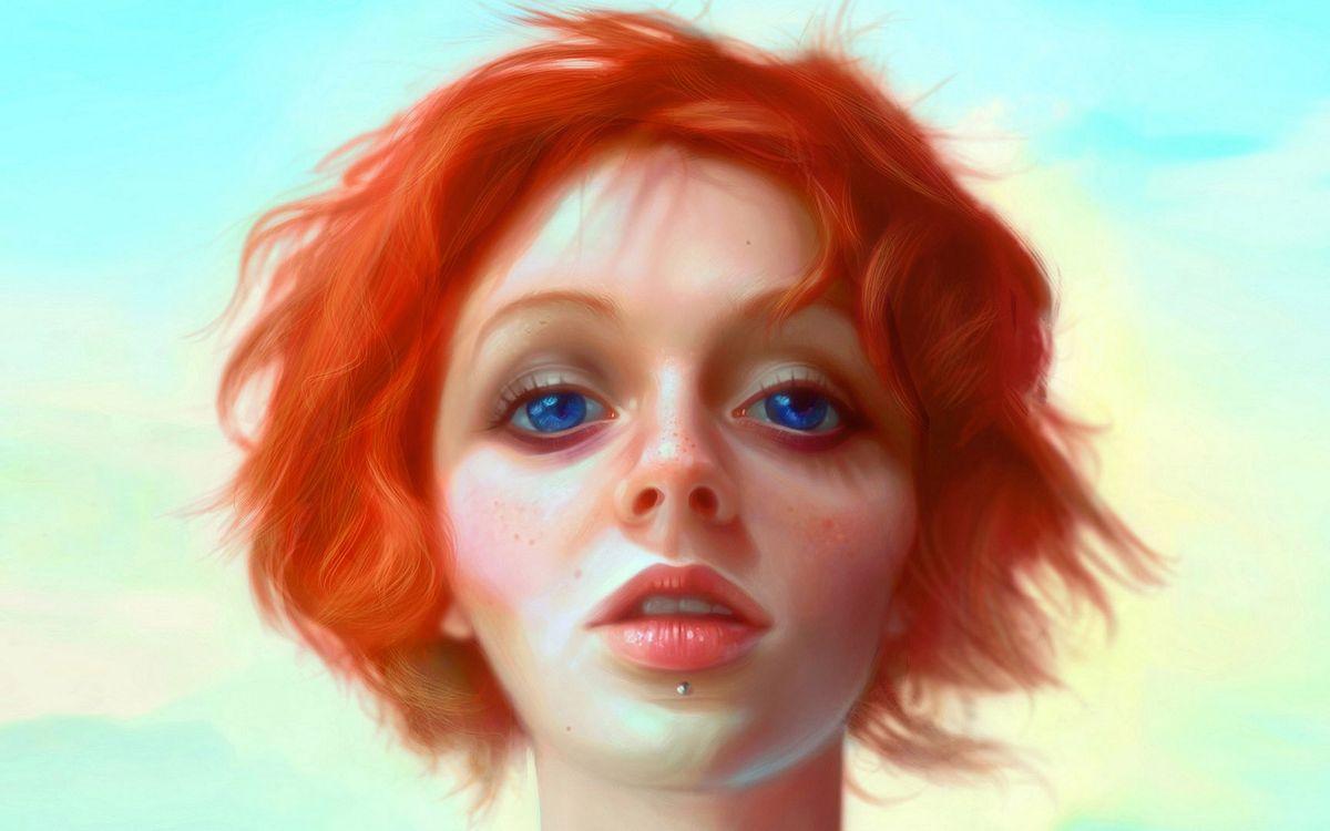 Фото бесплатно девушка, волосы, рыжие, глаза, синие, губы, пирсинг, рендеринг