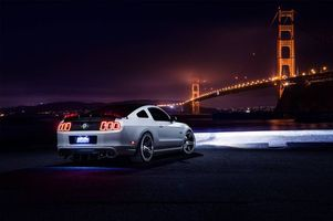Фото бесплатно Ford Mustang Aristo, white, ночь, мост, muscle, car