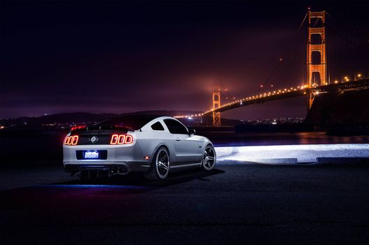 Заставки Ford Mustang Aristo, white, ночь