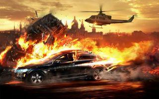 Бесплатные фото гонка,машина,огонь,скорость,вертолет,погоня
