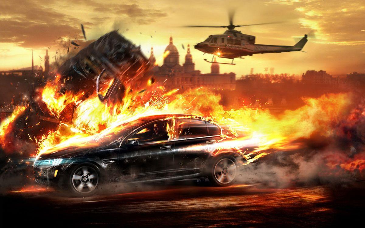 Фото бесплатно гонка, машина, огонь, скорость, вертолет, погоня, игры