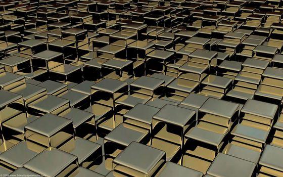 Заставки хромированные кубики, отражение