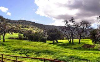 Бесплатные фото трава,деревья,горы,ограда,небо,облака