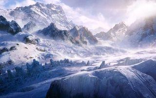 Заставки зима, горы, скалы