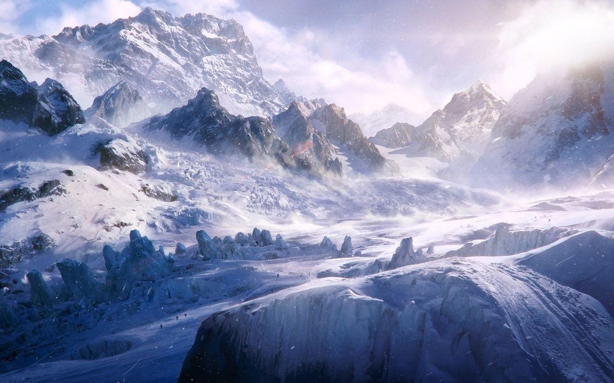Фото бесплатно зима, горы, скалы, камни, снег, сугробы, небо, облака, пейзажи