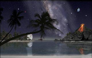 Бесплатные фото ночь,море,лагуна,берег,пальмы,вулкан,art