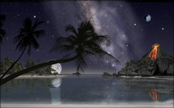 Заставки ночь, море, лагуна