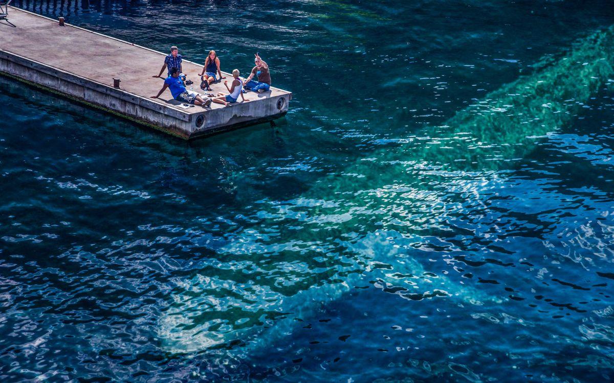 Фото бесплатно мостик, океан, силуэт - на рабочий стол
