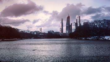 Фото бесплатно ART IRBIS PRODUCTION, Москва, туман, небоскребы, дома, сепия, облака, небо, снег, Khusen Rustamov, Хусен Рустамов, фотограф, xusenru, Природа, Россия, Город, мрак