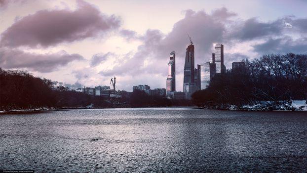 Фото бесплатно ART IRBIS PRODUCTION, Москва, туман, небоскребы, дома, сепия, облака, небо, снег, Khusen Rustamov, Хусен Рустамов, фотограф