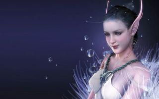 Фото бесплатно девушка, эльф, уши острые, платье, пузыри