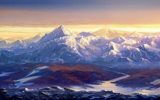 Заставки горный пейзаж, горы, река