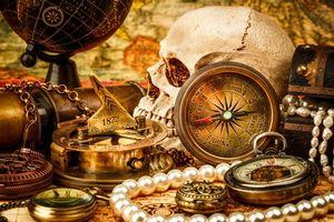 Бесплатные фото натюрморт,композиция,череп,глобус,компас,подзорная труба,предметы