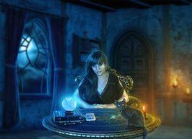 Обои ночь, стол, свечи, магия, гадалка, котёнок
