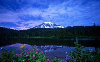 Фото бесплатно вершины, озеро, облака