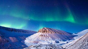 Заставки северное сияние, горы, снег