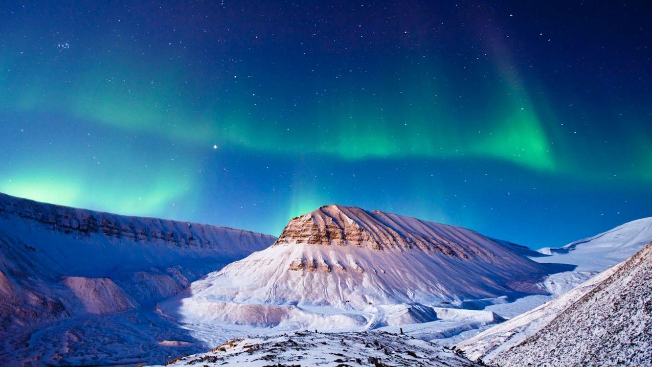 Фото бесплатно северное сияние, горы, снег - на рабочий стол