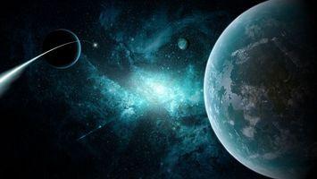 Фото бесплатно Комета возле планет, планета, спутники