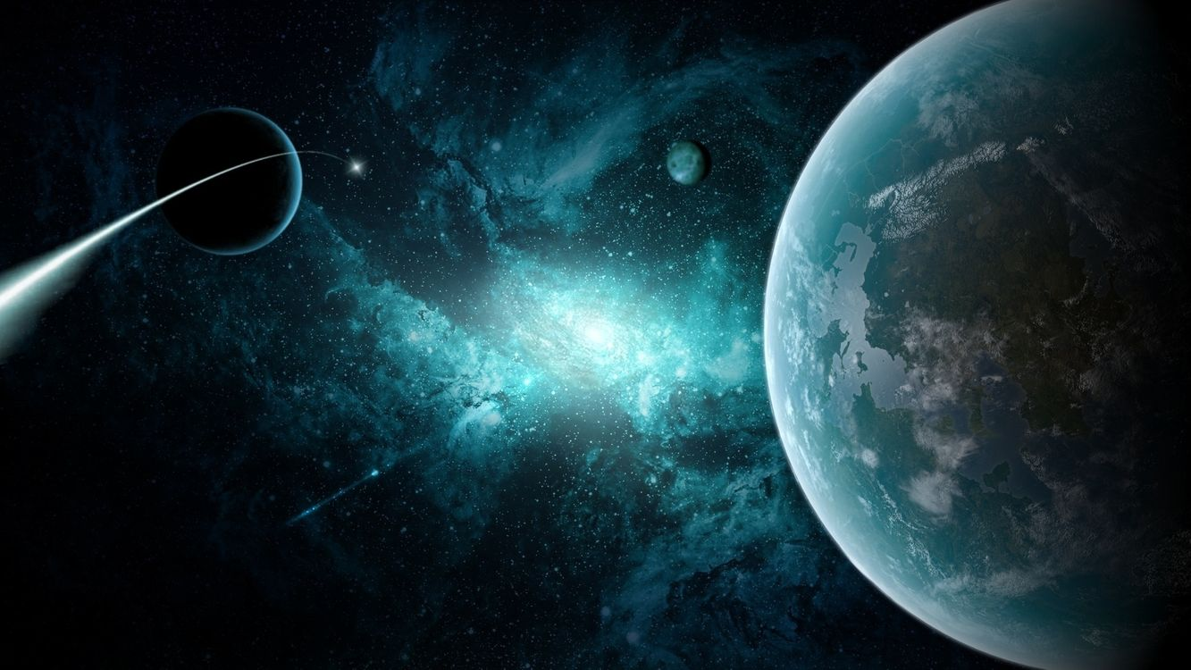 Фото бесплатно Комета возле планет, планета, спутники, комета, космос - скачать на рабочий стол