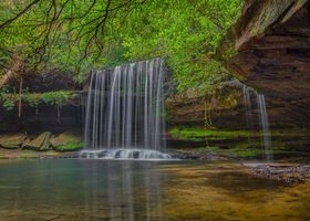 Заставки Upper Caney Creek Falls,Bankhead National Forest Northwest Alabama,водопад,скалы,деревья,природа