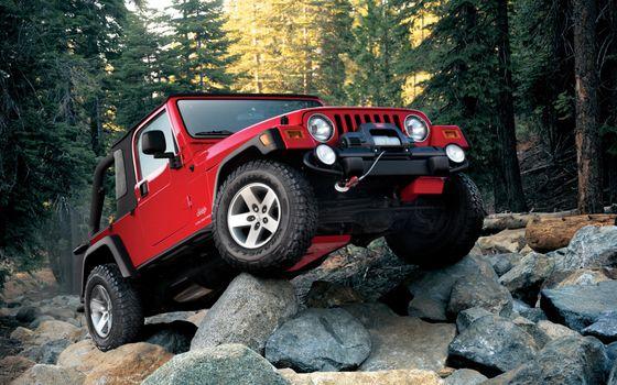 Фото бесплатно Красный Jeep Wrangler, камни, хвойный лес
