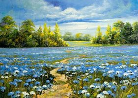 Бесплатные фото живопись,картина,поле,дорога,цветы,деревья,пейзаж