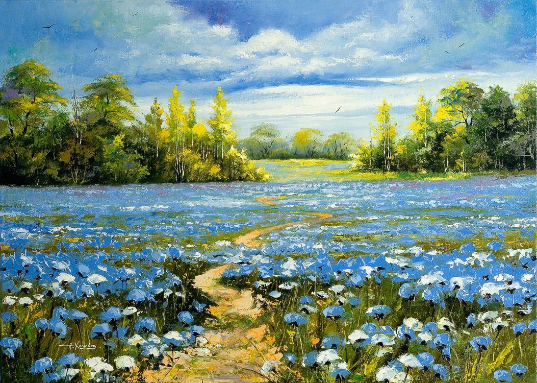 Фото бесплатно живопись, картина, поле, дорога, цветы, деревья, пейзаж, разное