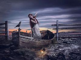 Фото бесплатно ночь, девушка, фонарь