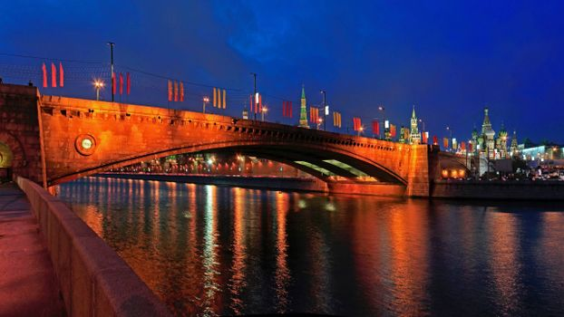Фото бесплатно ночь, Москва, река