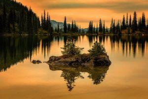 Заставки закат, озеро, деревья