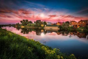 Бесплатные фото закат, река, дома, пейзаж