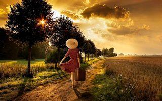 Бесплатные фото закат, поле, дорога, деревья, девушка, пейзаж