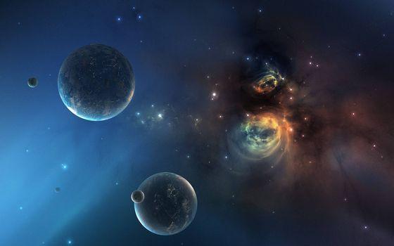 Фото бесплатно планеты, звезлы, созвездия, свечение, невесомость, вакуум