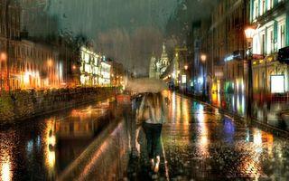 Фото бесплатно девушка с зонтом, улица, дождь