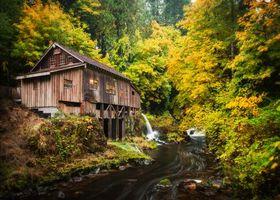 Бесплатные фото Cedar Creek Grist Mill,Woodland,Washington,Вудленд,штат Вашингтон,река,мельница
