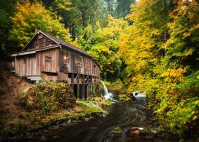 Фото бесплатно Cedar Creek Grist Mill, Woodland, Washington, Вудленд, штат Вашингтон, река, мельница, лес, осень