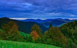 Бесплатные фото горы,трава,деревья,небо,облака
