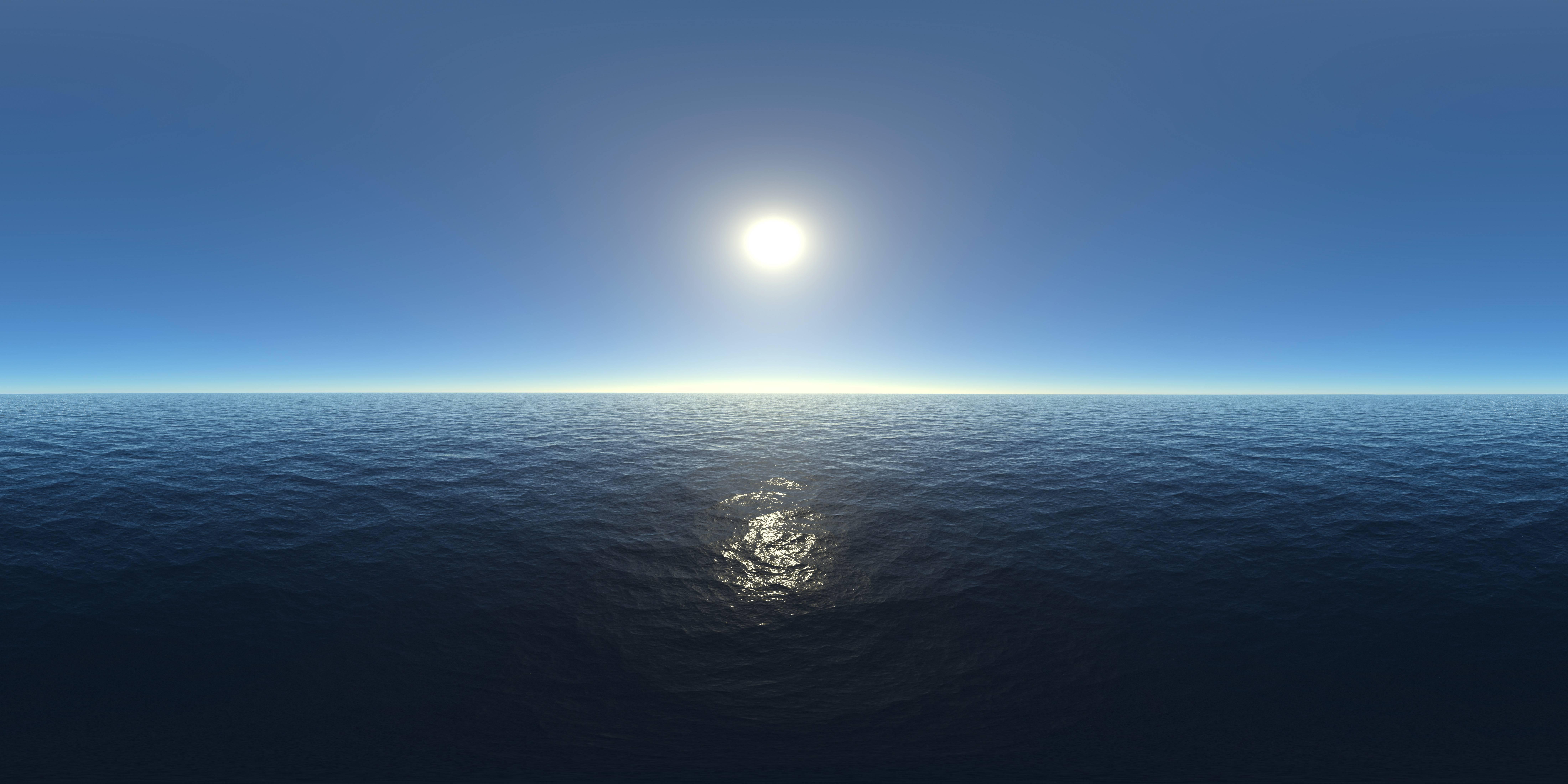 Обои океан, солнце, графика
