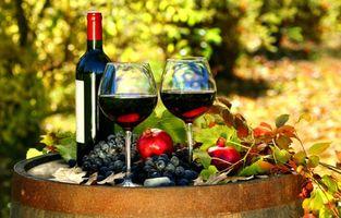 Фото бесплатно вино, бокалы, виноград