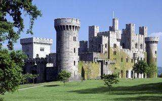 Бесплатные фото крепость, замок, башни, камень, газон, деревья, небо