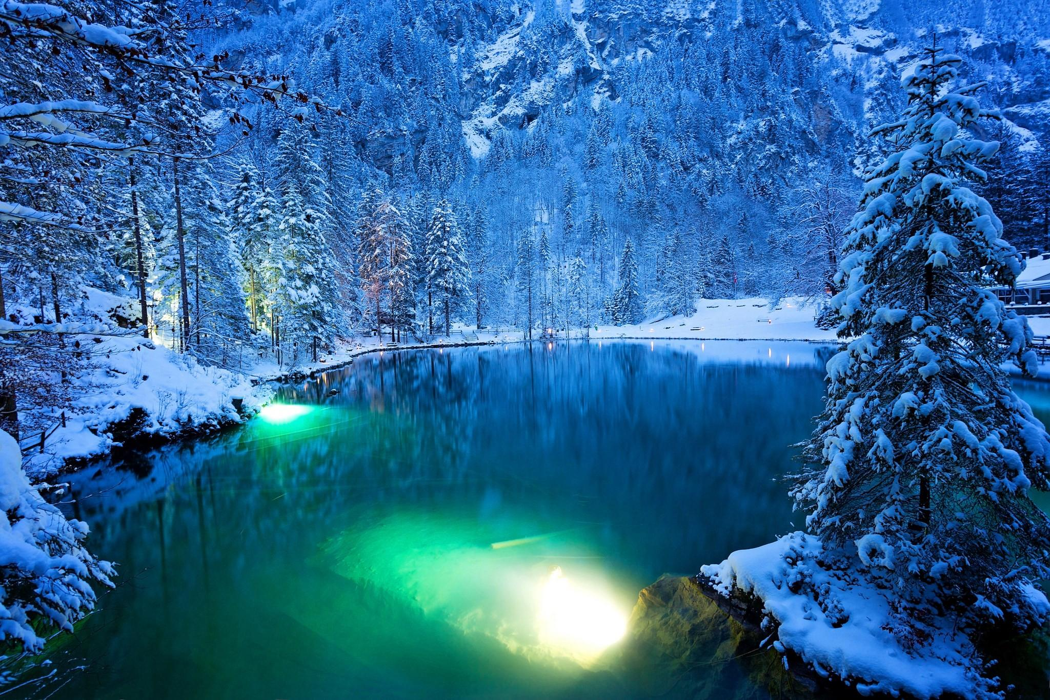 обои The Blue Lake, Blausee, Switzerland, зима картинки фото