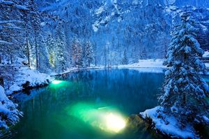 Бесплатные фото The Blue Lake,Blausee,Switzerland,зима,горы,деревья,озеро