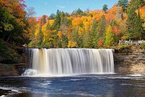 Бесплатные фото осень, река, водопад, лес, деревья, природа